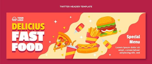 En-tête de twitter fast food design plat