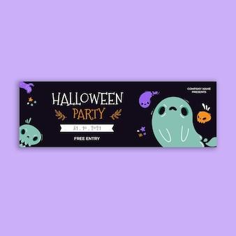 En-tête de twitter halloween sombre dessiné à la main