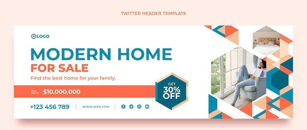En-tête de twitter immobilier géométrique design plat