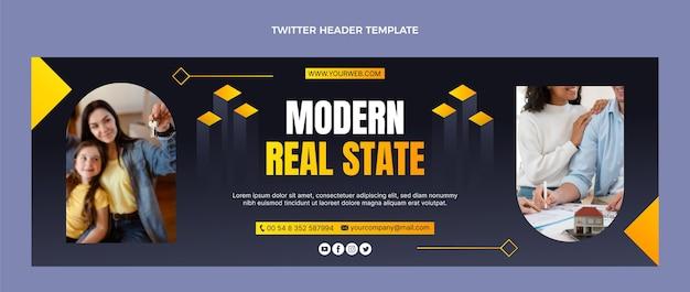 En-tête de twitter immobilier moderne dégradé