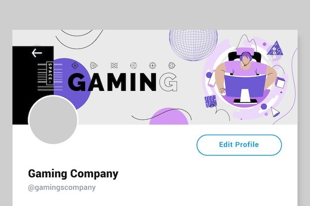 En-tête twitter de jeu moderne et créatif