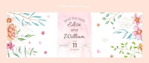 En-tête de twitter de mariage aquarelle dessinés à la main