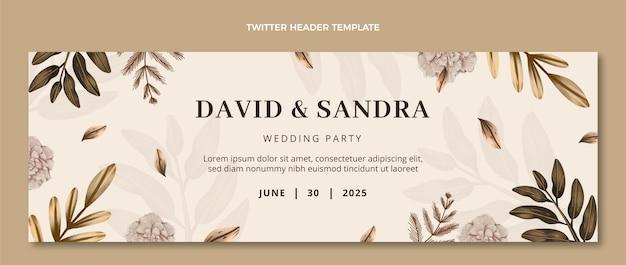 En-tête twitter de mariage boho aquarelle