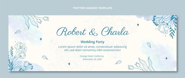 En-tête de twitter de mariage dessiné à la main aquarelle