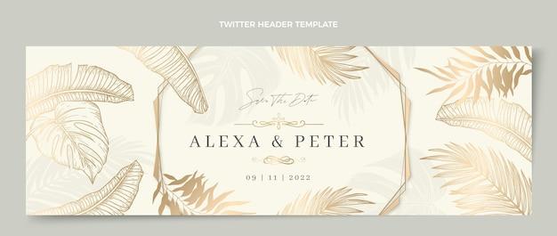 En-tête de twitter de mariage doré de luxe réaliste