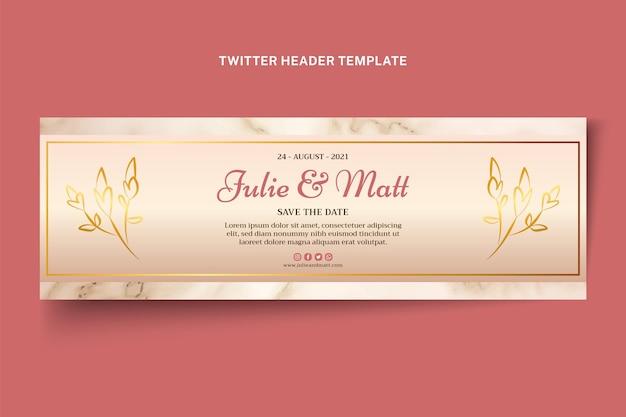 En-tête twitter de mariage d'or réaliste