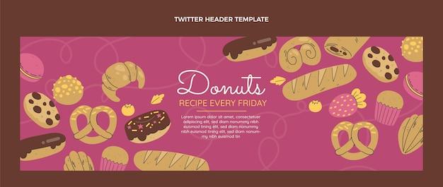 En-tête de twitter de recette de beignets design plat