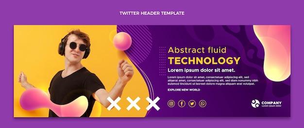 En-tête de twitter technologie fluide abstrait dégradé