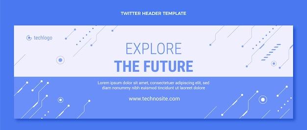 En-tête twitter à technologie minimale plate