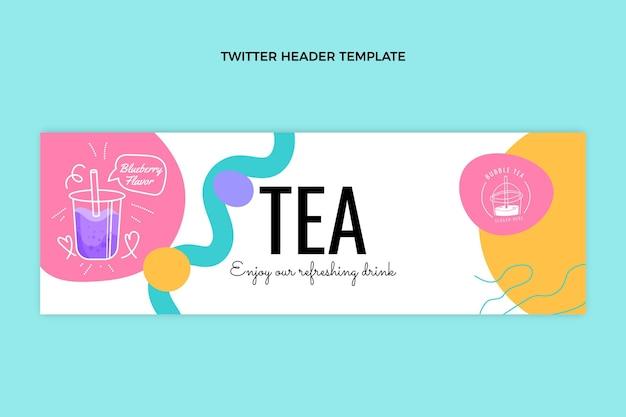 En-tête de twitter de thé à bulles dessiné à la main