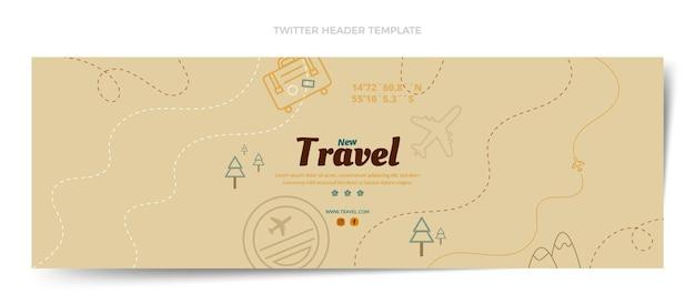 En-tête de twitter de voyage automne design plat