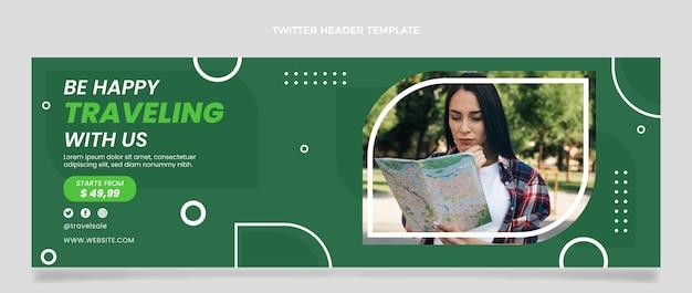 En-tête de twitter de voyage design plat