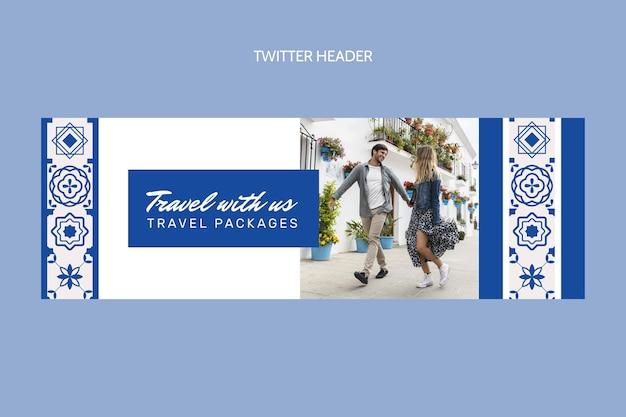 En-tête twitter de voyage plat
