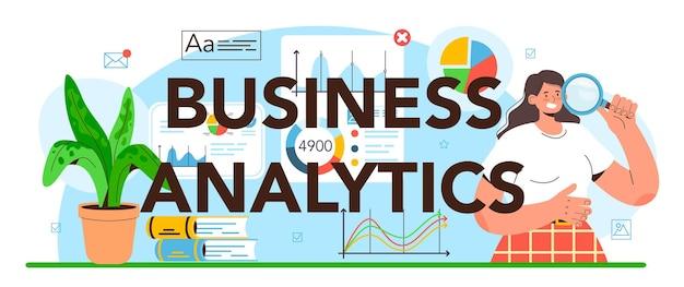En-tête typographique d'analyse commerciale. journalisme de données ou data-driven