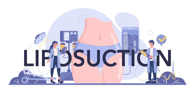 En-tête typographique de chirurgie de liposuccion