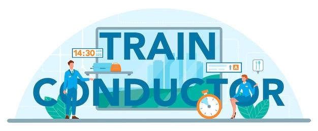 En-tête typographique de conducteur de train