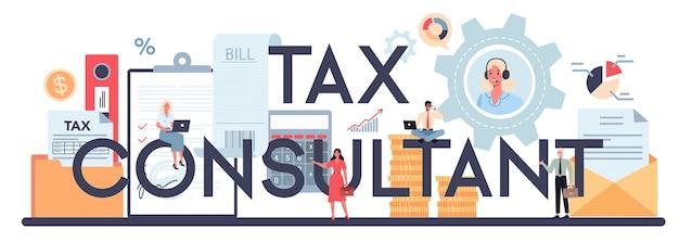 En-tête typographique de conseiller fiscal