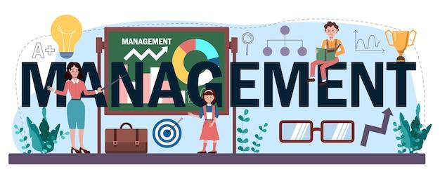 En-tête typographique de gestion. enseignement des sciences humaines, cours scolaire