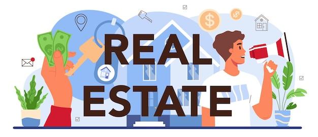 En-tête typographique de l'immobilier. déménagement, achat d'une maison neuve.