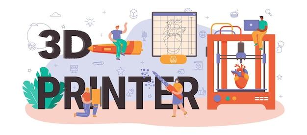 En-tête typographique d'imprimante 3d. dessin de concepteur numérique avec des outils et équipements électroniques. mise en page ou création de modèle avec du matériel d'impression 3d. illustration vectorielle plane