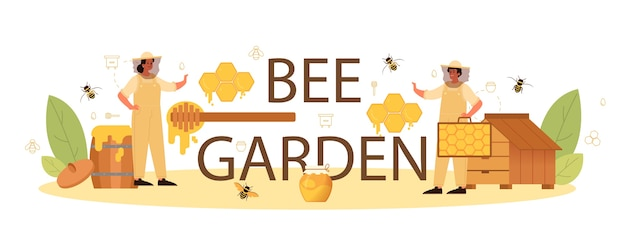 En-tête typographique de jardin d'abeilles.