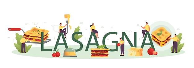 En-tête typographique de lasagnes savoureuses