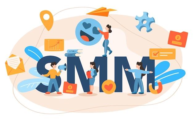 En-tête typographique de marketing des médias sociaux smm