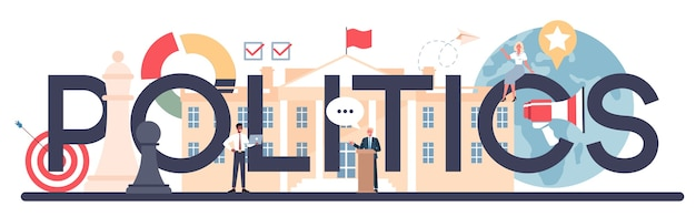 En-tête typographique politique. idée d'élection et de gouvernement.