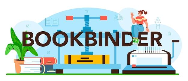 En-tête typographique de reliure. technologie d'imprimerie, agrafage de publications imprimées. fabrication artisanale ou moderne de machines à relier. illustration vectorielle plane