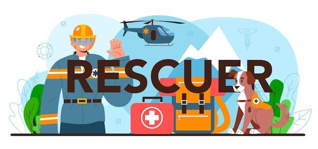 En-tête typographique de sauveteur. aide d'urgence, sauveteur d'ambulance