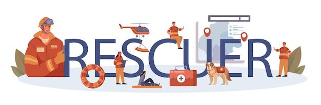En-tête typographique de sauveteur. aide urgente. sauveteur d'ambulance aidant les premiers secours à la personne blessée. sauveteur sur une plage ou opération de recherche de personnes. illustration vectorielle plane isolée