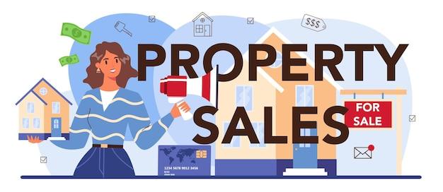En-tête typographique de vente de propriété aide à l'agent immobilier de l'industrie immobilière