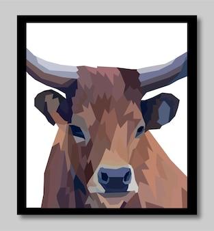 Tête de vache colorée pop art portrait premium vector affiches décoration isolée