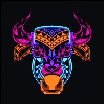 Tête de vache dans le style de couleur lueur