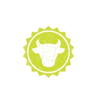 Tête de vache, logo de ferme de bétail, insigne de vecteur
