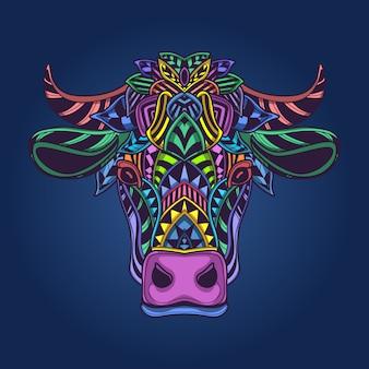 Tête de vache oeuvre colorée