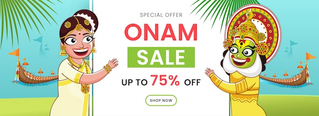 En-tête de vente onam ou bannière, joyeux danseur de kathakali, personnage de femme et course de bateaux d'aranmula sur fond turquoise clair et vert.