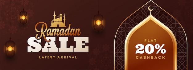 En-tête de vente ramadan kareem ou conception de bannière avec 20% de réduction