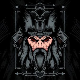 Tête de viking géométrie sacrée
