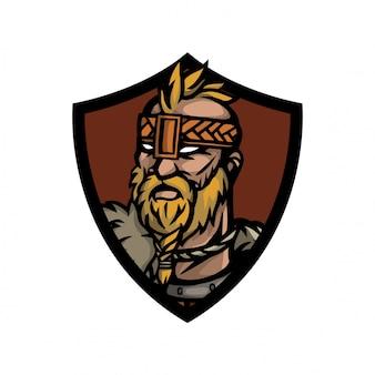 Tête de viking avec pain regarde devant