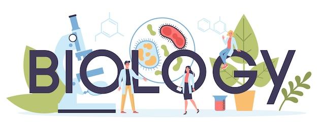 En-tête web de science biologie. les personnes au microscope font des analyses de laboratoire. idée d'éducation et d'expérimentation.
