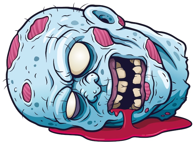 Tête de zombie en dessin animé