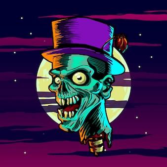 Tête de zombie halloween creepy tête de mort tête de zombie flottant au-dessus de la nuit