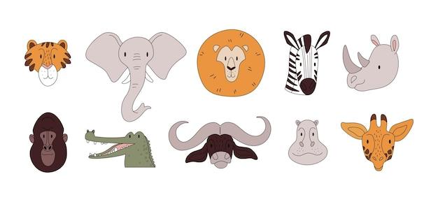 Têtes d'animaux africains aux couleurs pastel avec des traits fins