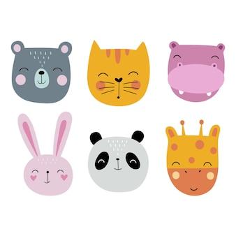 Têtes d'animaux de dessin animé personnage de dessin animé de lièvre ours chat panda girafe hippopotame