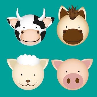 Têtes d'animaux de ferme contenant du mouton de vache cheval et cochon