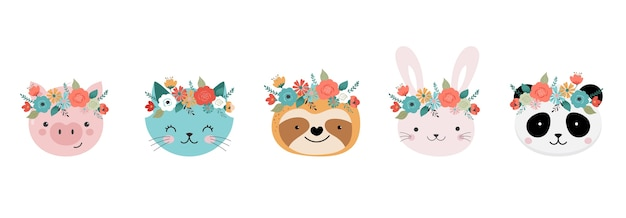 Têtes d'animaux mignons avec couronne de fleurs
