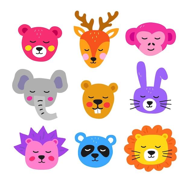 Têtes d'animaux mignons dessinés à la main. animaux de collection dans un style plat