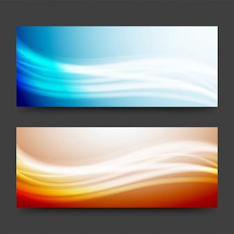 En-têtes ou bannières de site web avec des ondes brillantes.