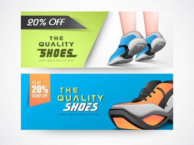 En-têtes ou bannières de sites de chaussures avec des illustrations de chaussures élégantes.